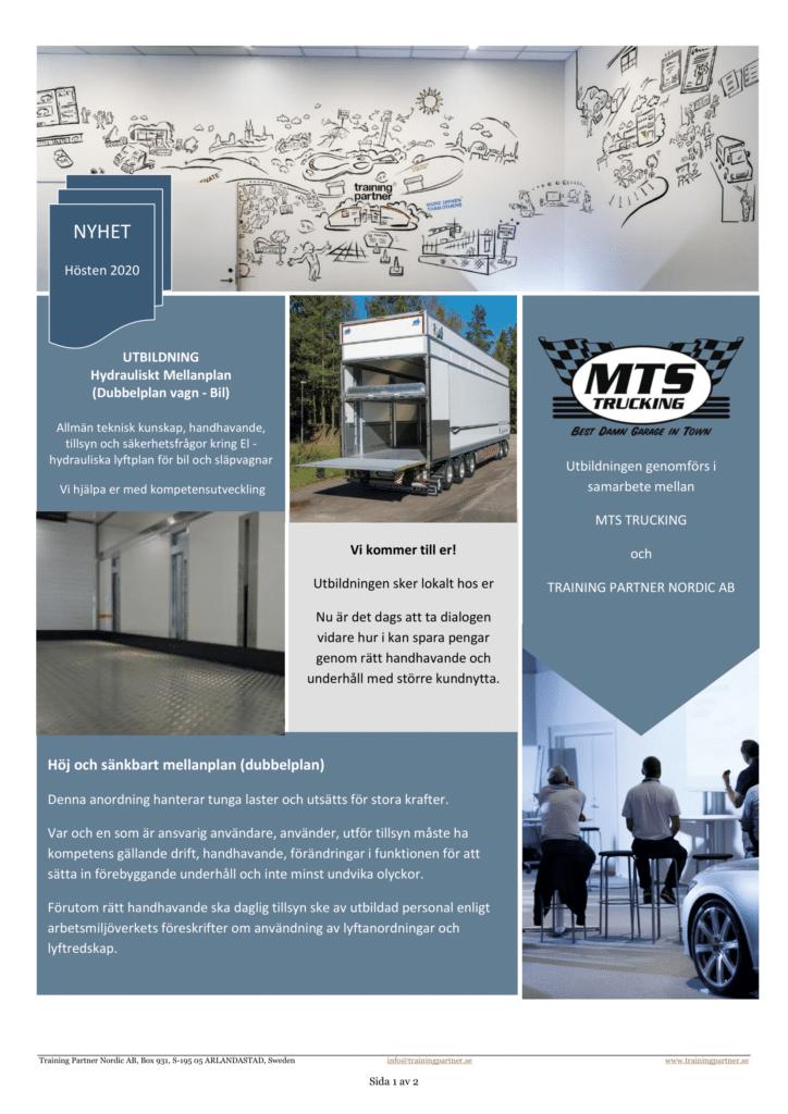 MTS Trucking Borlänge Axelmätning Service Reparation Uthyrning Verkstad Dubbelplansvagn SKAB VAK Training Partner Utbildning